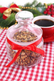 Delicious Christmas cookies in jar on table close-up — Stockfoto