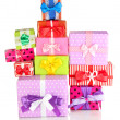 Foto Stock: Hill colorful gifts isolated on white
