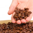 Coffee beans in hand isolated on white — Stock Photo #37722611