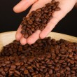 Coffee beans in hand on dark background — Stock Photo #37722621