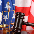 Stock Photo: Judge gavel on americflag background