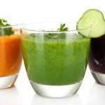 Fresh vegetable juices isolated on white — Stock Photo