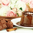 Yummy chocolate cake close-up — Stok Fotoğraf #37723885