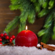 Stock Photo: Burning candle on wooden background