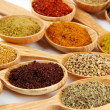 Assortment of spices in wooden spoons — Stock Photo #37725641
