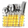 Knives, forks and spoons in metal stand isolated on white — Stock Photo
