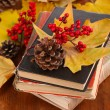 Books and autumn leaves on wooden table close-up — Stock Photo #37726601