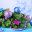 Christmas balls on fir tree, on color background — Zdjęcie stockowe #37727169