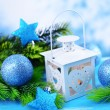 Stock Photo: Christmas lantern, fir tree and decorations on light background