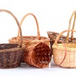 Empty wicker baskets, isolated on white — Stock Photo #37727265