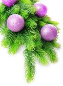 Bolas de Natal na árvore do abeto, isolado no branco — Fotografia Stock