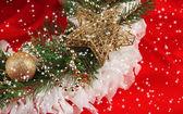 Christmas wreath on fabric background — Zdjęcie stockowe
