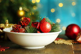 Place setting for Christmas, on bright background — Stock Photo