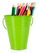 Color bucket with multicolor pencils, isolated on white — Stock Photo