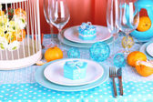Table serving with colorful tableware close-up — 图库照片