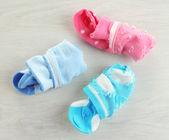 Socks on wooden background — Stock Photo