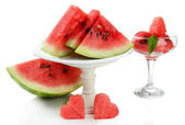 Fresh watermelon and watermelon dessert isolated on white — Stock Photo
