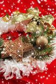 De kroon van Kerstmis op stof achtergrond — Stockfoto