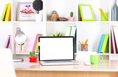 Workplace with laptop, close up — Stock Photo
