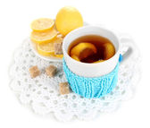 Cup of tea with lemon isolated on white — Stock Photo