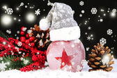 Holiday apple with frosted star in snow on black background — Foto Stock