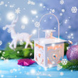 Christmas lantern, fir tree and decorations on light background — Stock Photo