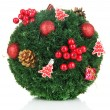 Stock Photo: Christmas fir-tree ball with decoration isolated on white