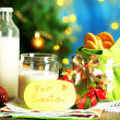 Cookies and milk for Santa. in bright background — Stock Photo #37779281