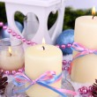 Christmas candles close up — Stock Photo