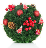 Christmas fir-tree ball with decoration isolated on white — Foto Stock