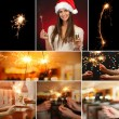 Collage of beautiful girl and sparkler in hands — Stock Photo #37780579