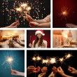 Collage of beautiful girl and sparkler in hands — Stock Photo #37780609
