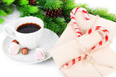 Christmas candy canes, cup with hot drink and letters for Santa, isolated on white — Stock Photo