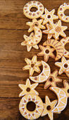 Delicious Christmas cookies on wooden background — 图库照片