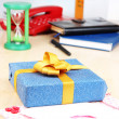 Stock Photo: Gift with card for loved one on desktop close-up