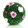 Stock Photo: Christmas fir-tree ball decorated with flowers isolated on white