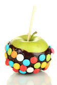 Candied apple on stick isolated on white — Stock Photo