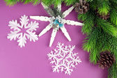 Beautiful snowflakes with fir branch on purple background — Stock Photo