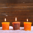 Burning candles on wooden background — 图库照片