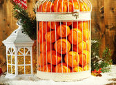 Tangerines in decorative cage with Christmas decor, on wooden background — Foto Stock