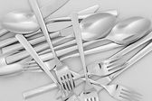 Forks, knifes and spoons close-up — Stock Photo