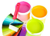 Set for painting: paint pots, paint-roller and palette of colors isolated on white — Stock Photo