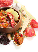 Chili Corn Carne - traditional mexican food, in wooden bowl, on napkin, isolated on white — Stock Photo
