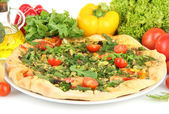 Tasty vegetarian pizza and vegetables, close up — Stock Photo