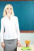 School teacher near blackboard in classroom — Stock Photo