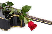 Acoustic guitar and red rose flower, isolated on white — Foto de Stock