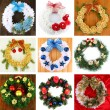 Stock Photo: Collection of Christmas wreathes