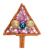Christmas tree of Christmas toys isolated on white — Stock Photo