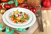 Dietary food on New Year's table close-up — Stock Photo