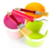 Set for painting: paint pots, brushes, paint-roller isolated on white — ストック写真
